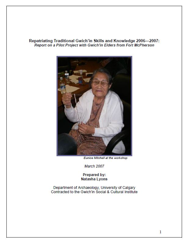 Repatriating Traditional Gwich'in Skills and Knowledge Report Cover